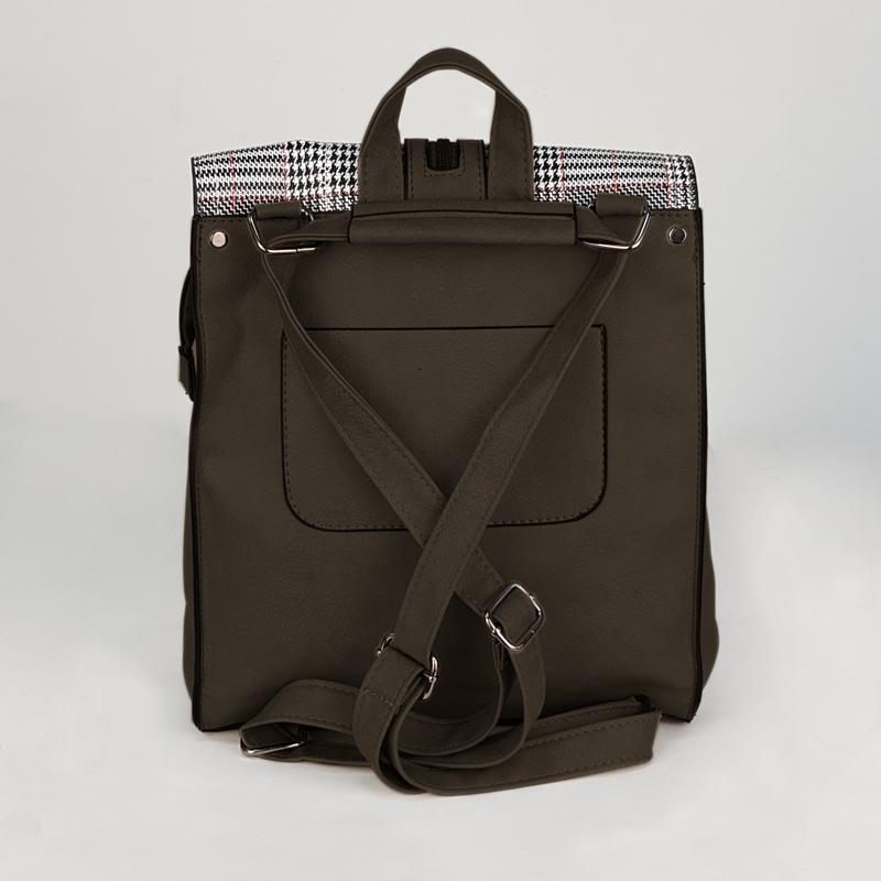 Back Pack with Grey and Black Lines