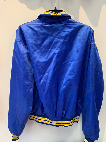 Vintage Nylon Royal Blue w/ Yellow Mattydale Fire Dept Jacket Med/Large Made in USA