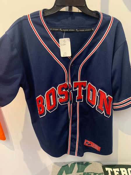 Navy Blue Boston Red Sox Jersey with Red lettering. Size 2XL.