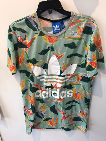 Floral Birds of Paradise Adidas T Shirt Medium