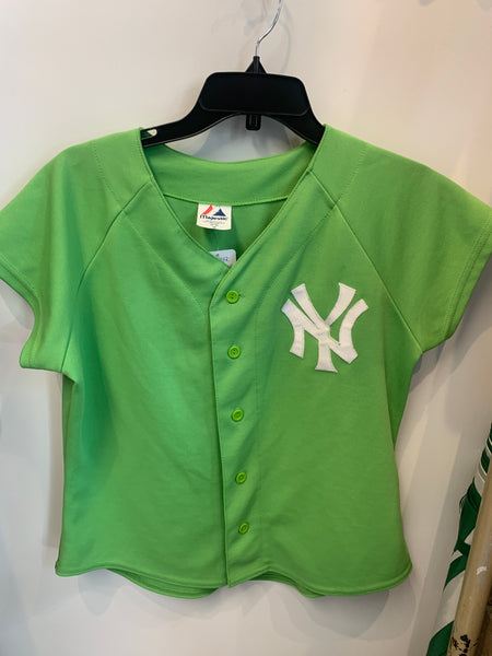 made in use yankees lime green majestic women's jersey size m