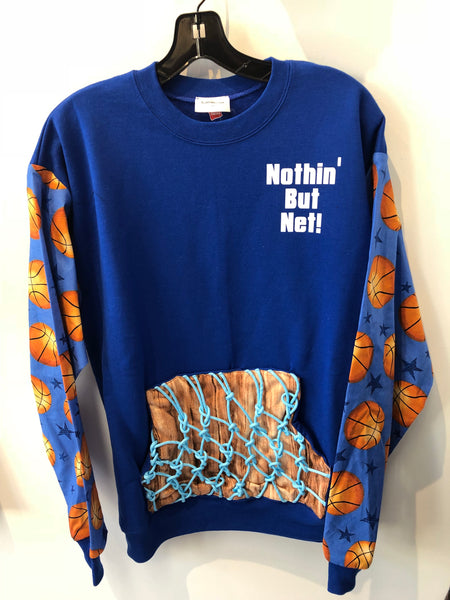 Custom KatSumma Original Basketball Nothing But Net Sweatshirt with Glow in the Dark Net detail