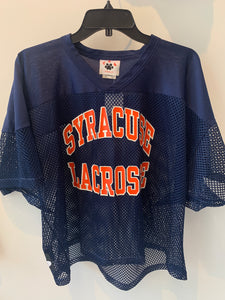 Vintage Navy Blue Mesh Syracuse Lacrosse Jersey Large/XL Made in USA