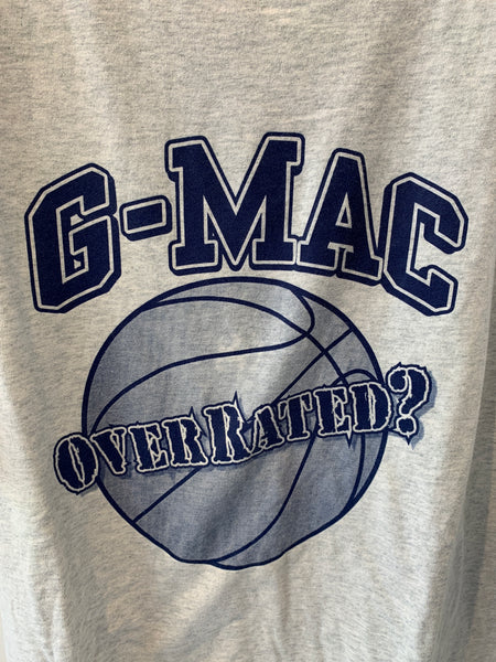 G-Mac Overrated T-Shirt, Grey T-Shirt with Blue logo. Size XL.