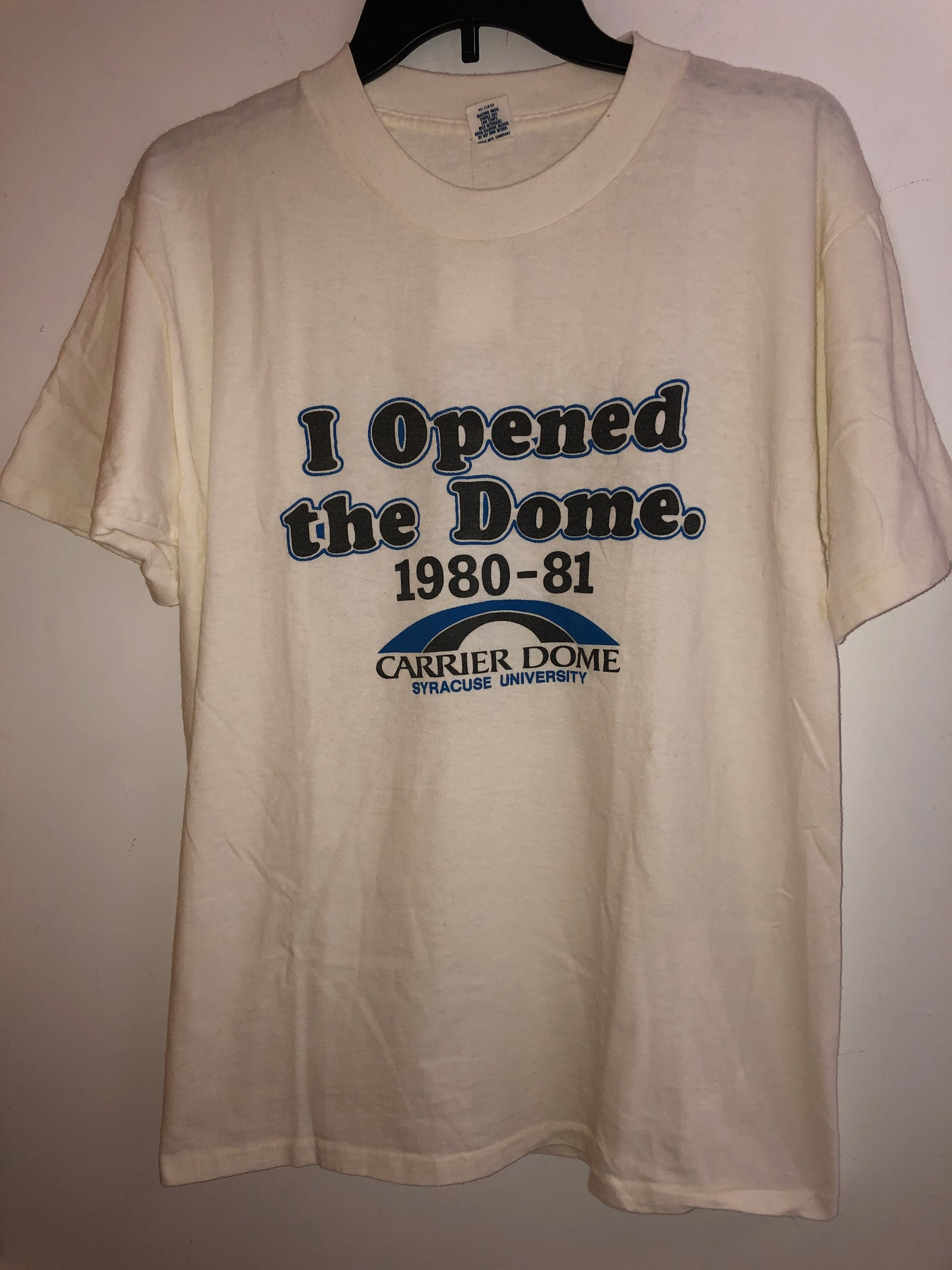 Extremely rare 80's Vintage I opened the Carrier Dome T Shirt fits a Medium Made in USA
