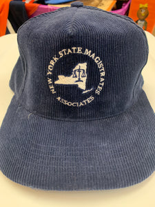 Vintage Navy Corduroy New York State Scales of Justice Snapback Hat