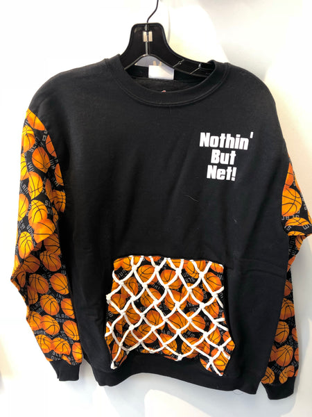 Custom KatSumma Original Basketball Nothing But Net Sweatshirt with Sleeves and Pocket Detail