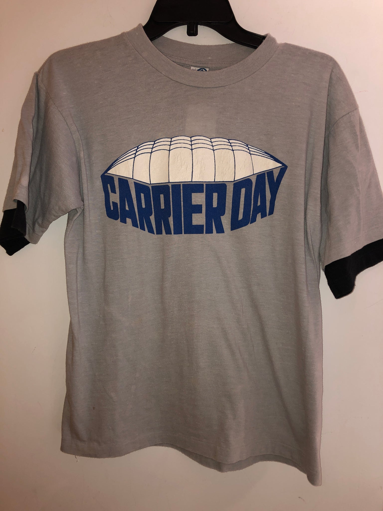 Vintage 80's Carrier Day Gray T Shirt Fits a Small/Medium. TS13