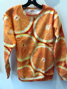 Long Sleeve Oranges All Over Sublimation Print Sweatshirt