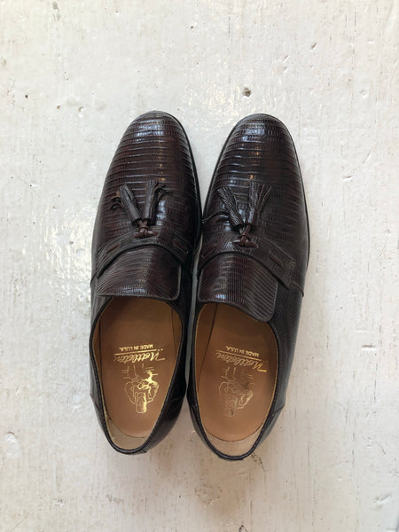 Unworn from 1970's Nettleton Genuine Lizard Skin Shoes with Tassle 7.5 D Made in Syracuse, NY USA