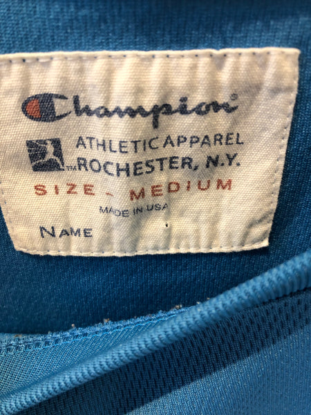 Vintage Champion White tag 3/4 sleeve Polyester Shirt Made in USA Rochester, NY