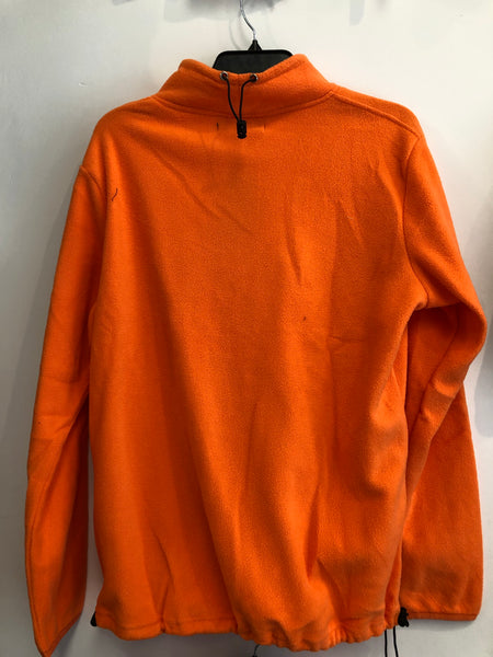 Le Cruz Orange & Black Cross Fleece Mock Neck Top