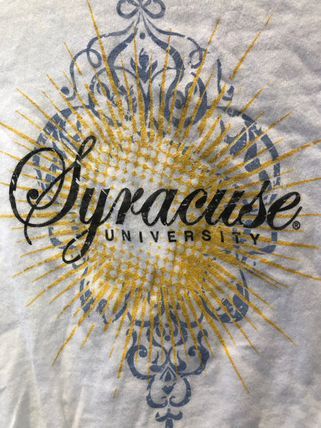 White Burnout Syracuse University T Shirt Made in USA