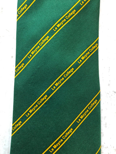 Classic Green and Yellow Lemoyne College Tie