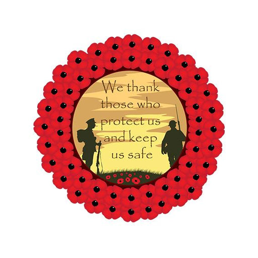 Poppy Wreath Those Who Protect Us Sign