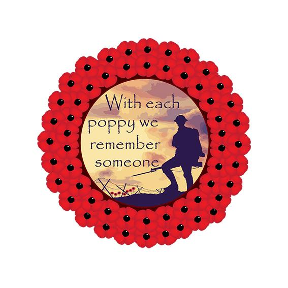 Poppy Wreath Remember Someone Sign