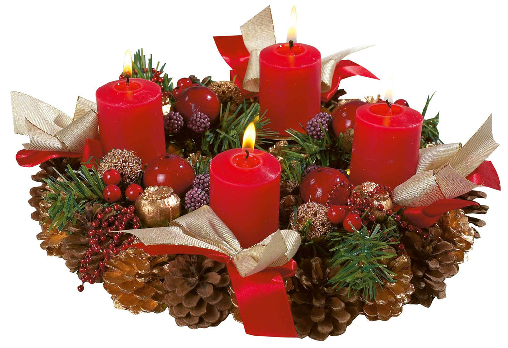 Traditional Advent Wreath with Greenery & 4 Candles
