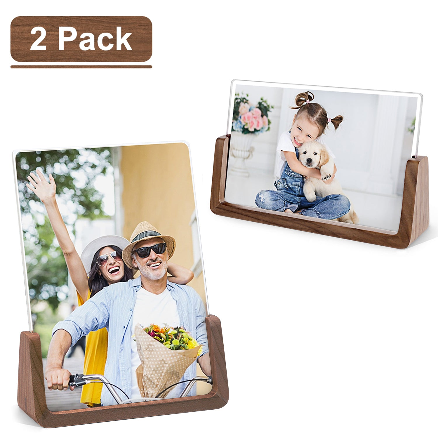 MEKO Picture Frame 5x7 Inch Wood Rustic Photo Frame - 2 Pack (Horizontal + Vertical)