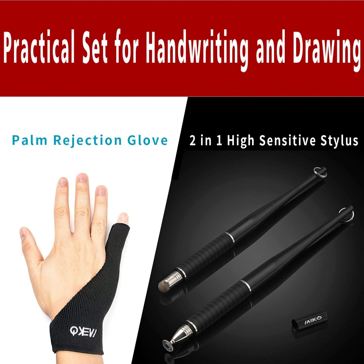 Stylus Pens with Anti-fouling Palm Rejection Artist Glove