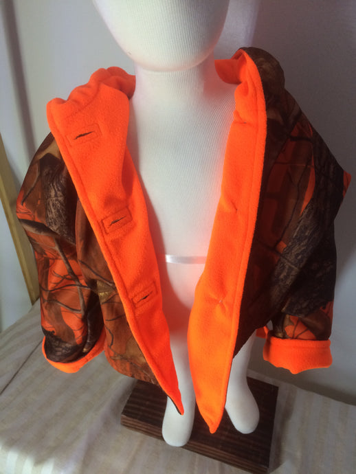 Boys Polar Fleece Jacket - Orange Camo