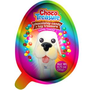 New! Choco Treasure Eggs with Chocolatey Candy & Puppy Toy Surprise | Tray of 10