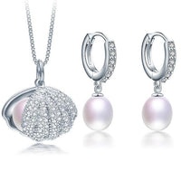 Sea Shell Zircon and pearl Jewelry Set