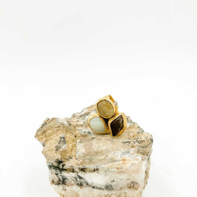 Triple Stone Agate Ring