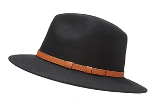 Wool Panama Hat with Vegan Leather Belt