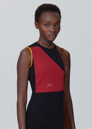Geometric Panel Ribbed Dress - Onyx/Crimson Red A-COLD-WALL* (ACW)