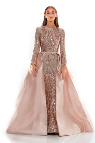 PS1705 LONG SLEEVES ROSE GOLD GOWN