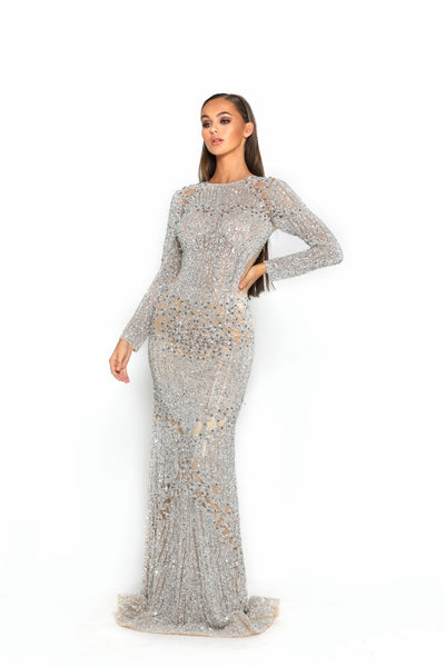 PS3008 SILVER NUDE COUTURE DRESS