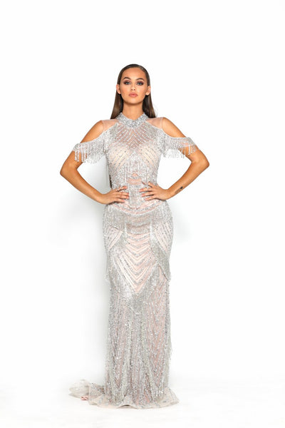 PS3010 SILVER COUTURE DRESS