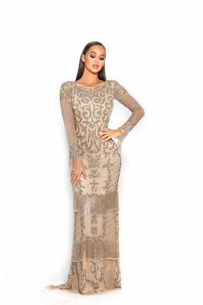 PS3013 BRONZE NUDE COUTURE DRESS