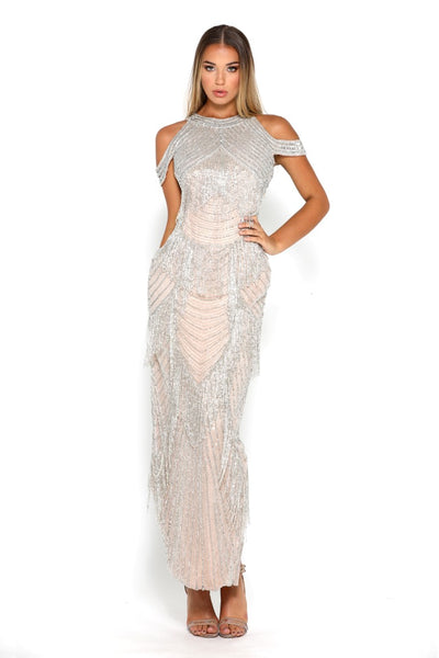 PS1762 SILVER NUDE COUTURE DRESS
