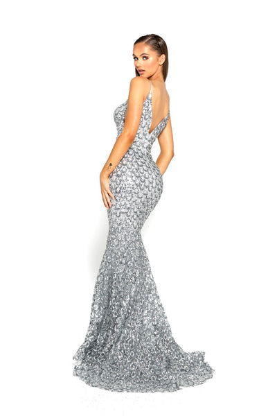 PS1902 SILVER EVENING DRESS