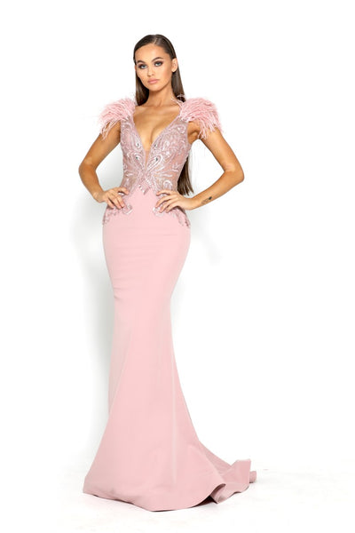 PS1910 BLUSH EVENING DRESS