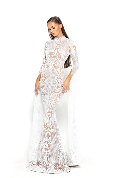 PS1943 WHITE EVENING DRESS