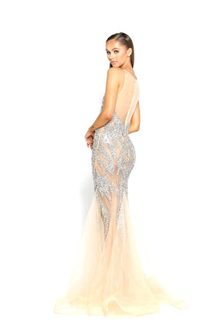 PS1960 SILVER NUDE EVENING DRESS
