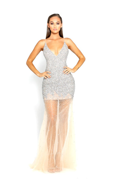PS1963 SILVER NUDE EVENING DRESS