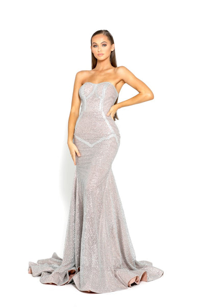 PS1968 SILVER NUDE EVENING DRESS