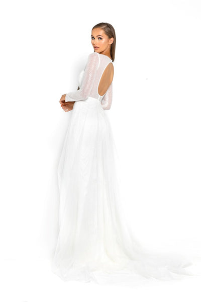 PS1980 WHITE EVENING DRESS