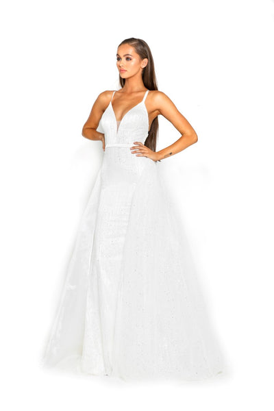 PS1982 WHITE EVENING DRESS