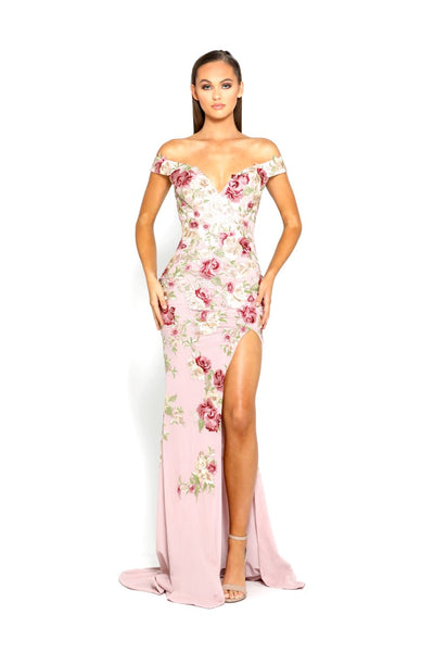 PS1985 FLORAL EVENING DRESS