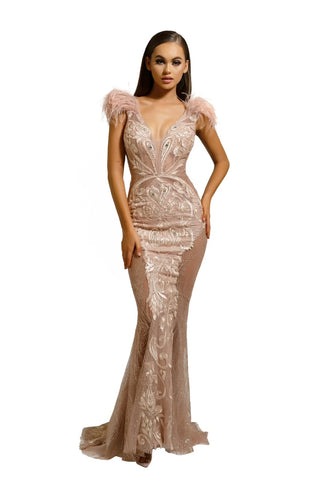 PS1986 ROSE GOLD FUFU GOWN