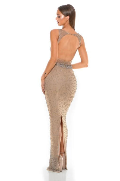 PS1990 SILVER NUDE COUTURE DRESS