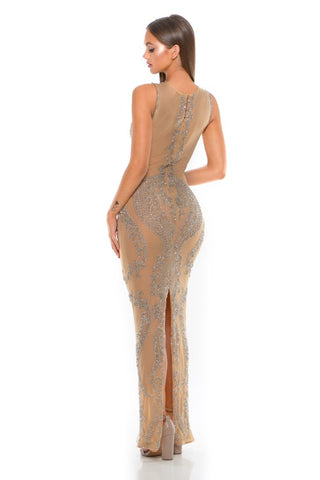 PS1991 SILVER NUDE COUTURE DRESS
