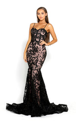 PS2009 BLACK BLUSH EVENING DRESS