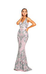 PS2025 PINK SILVER EVENING DRESS