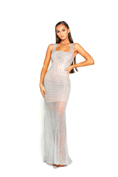 PS2028 GOWN SILVER NUDE