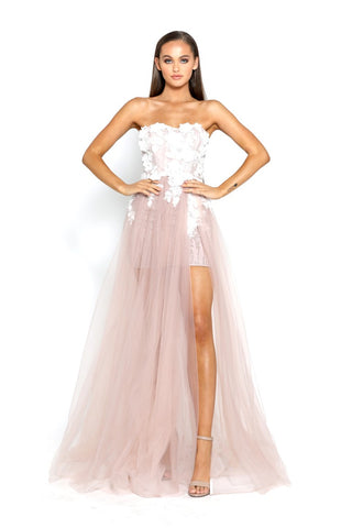 PS2046 IVORY BLUSH EVENING DRESS